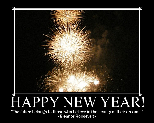 Happy New Year fireworks and Eleanor Roosevelt quote