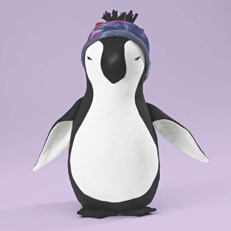 Maggie\'s Organics penguin made from fabric scraps