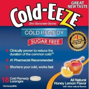 Cold Eeze Sugar Free All Natural Honey Lemon Cold Drop Lozenges